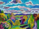 'Summer Clouds.' Oil and acrylic on canvas, 2008 40cm x 30cm