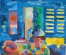 'Sunlight Through the Slats of the French Windows.' Oil on cardboard