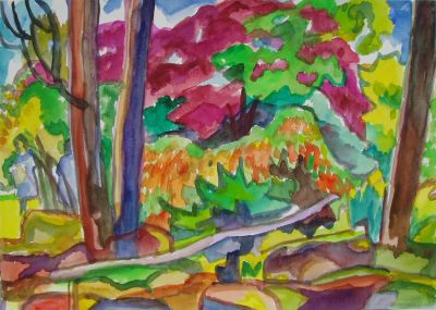 'Women Behind the Trees.'<br> Watercolour, 16 inches by 12 inches, 2010