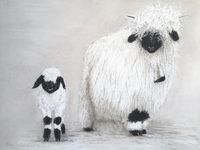 Valais Blacknose  ewe and lamb