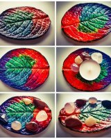 Multicoloured leaf dish