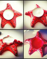 Starfish candleholder red