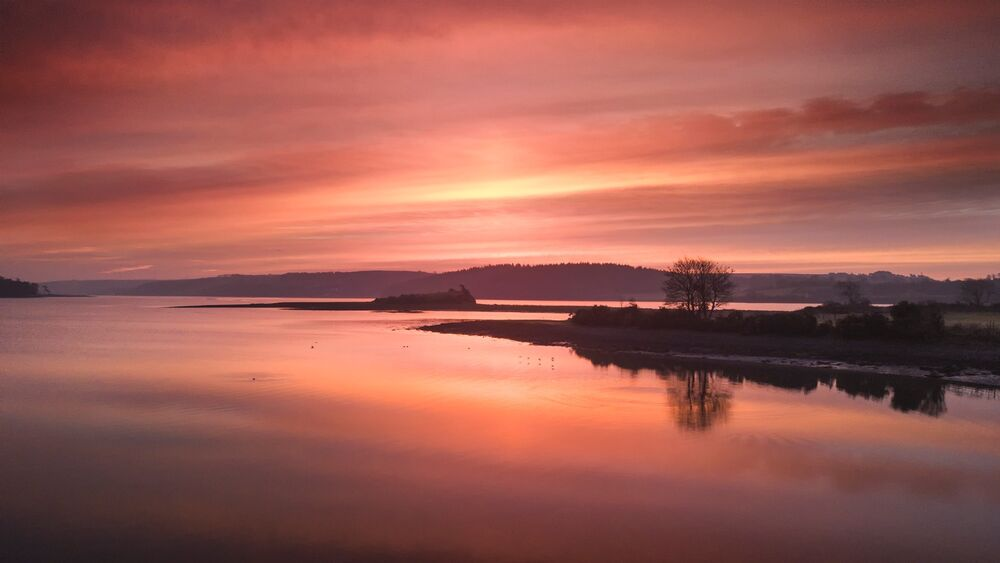 Red sky over Brown Island, Carrigtwohill
