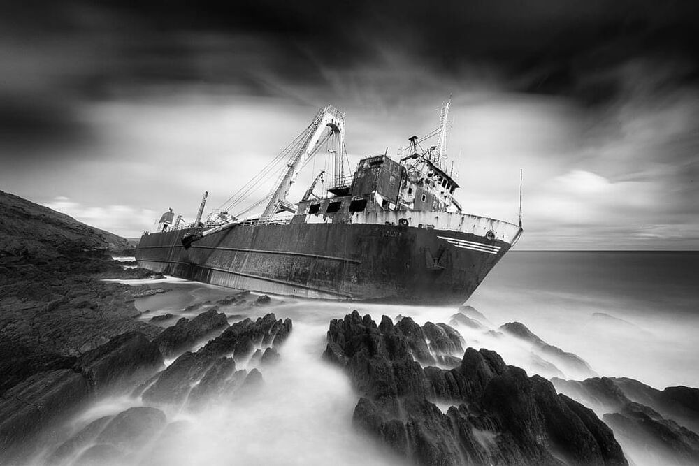 the mv Alta marooned on the cliffs near Ballycotton
