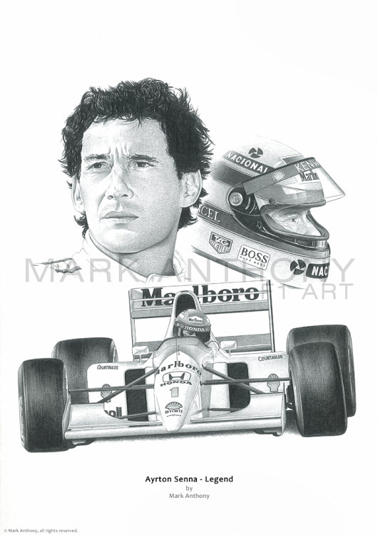 Ayrton Senna fine art print from the original pencil drawing