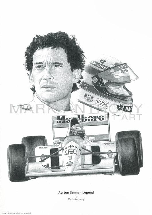 Ayrton Senna fine art print taken from the original pencil drawing