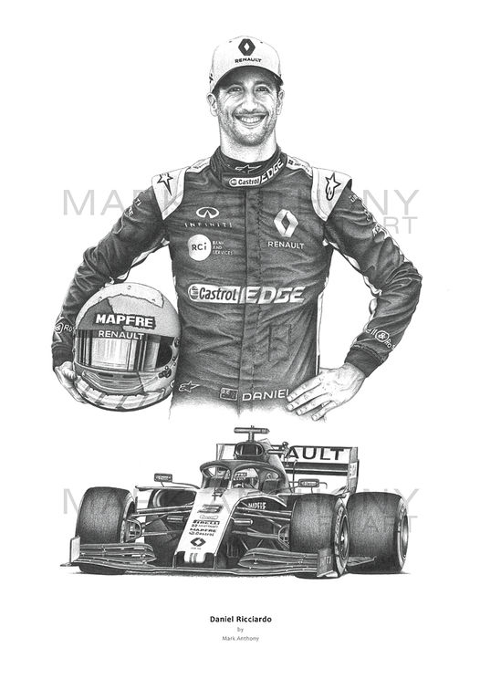 Daniel Ricciardo fine art print by Mark Anthony F1 Art