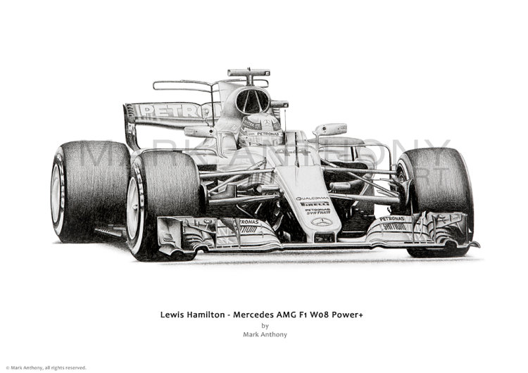 Mercedes AMG F1 W08 Power+ driven by Lewis Hamilton open edition print taken from the original pencil drawing