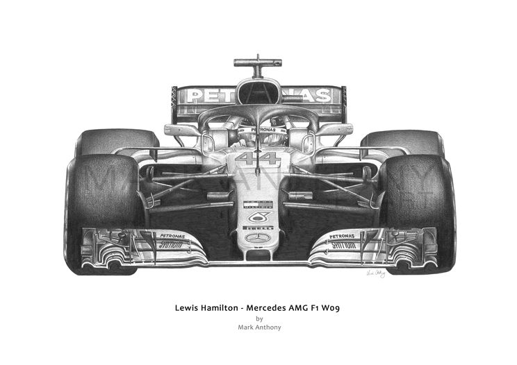 Lewis Hamilton Mercedes AMG F1 W09 car open edition fine art print