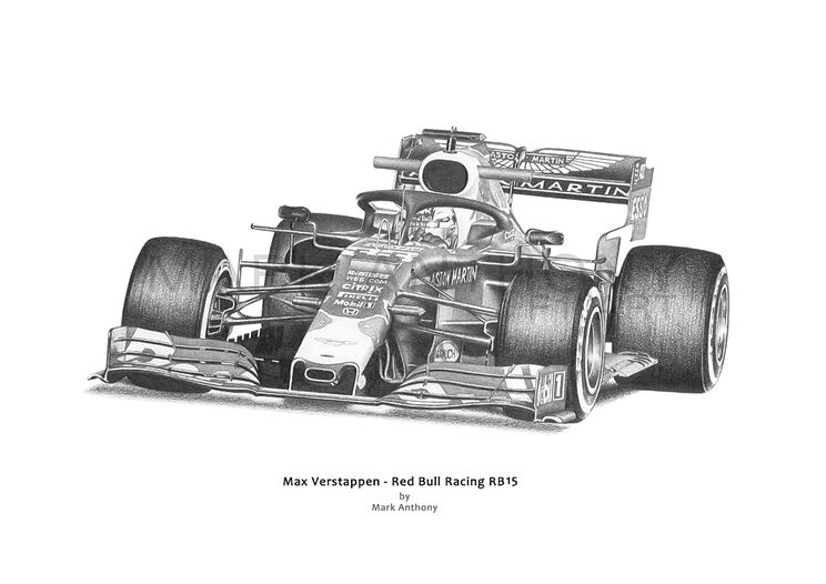 Max Verstappen driving Red Bull RB15 F1 Car Fine Art Print