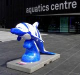 Dolphin sculpture, Aquatics Centre, Sports Village
