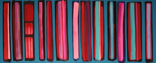 Turquoise And Pink Stripes, 2009 (sold)