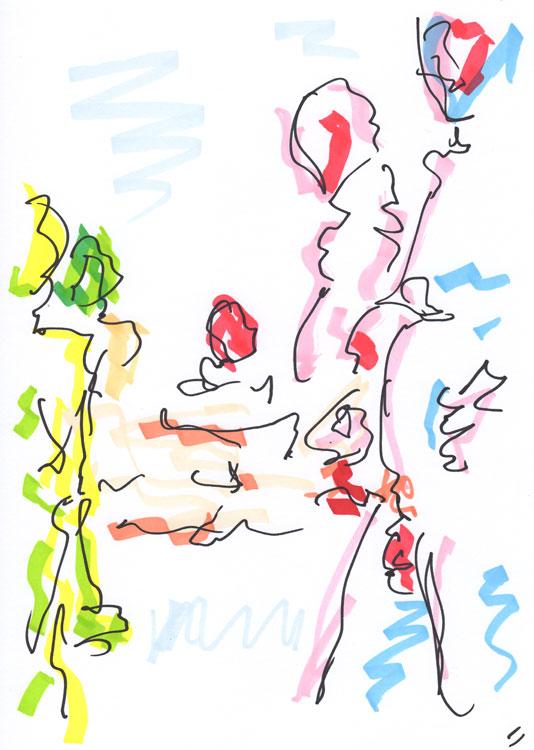 Life Study - Corinne, Jane and John - Marker pen