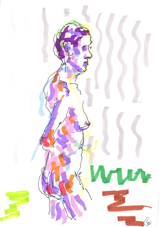 Life drawing - Anna - Marker Pen