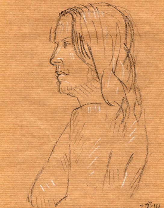 Life study - Agnieszka - carbon pencil and chalk