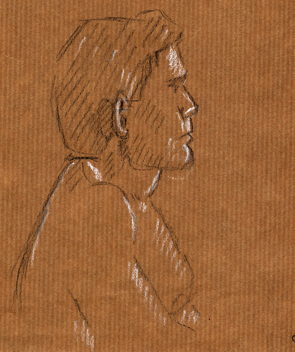 Life study - Alex - Croydon Life Drawing Group - carbon pencil and chalk