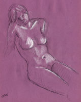 Life study - Clare - Croydon Life Drawing Group - charcoal and chalk