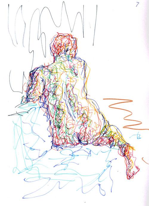 Life study - Clare - Croydon Life Drawing Group - marker pen