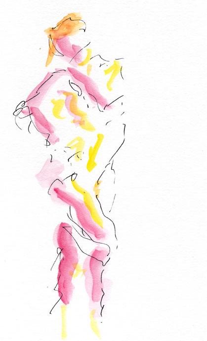 Life study - Clare - Croydon Life Drawing Group - watercolour
