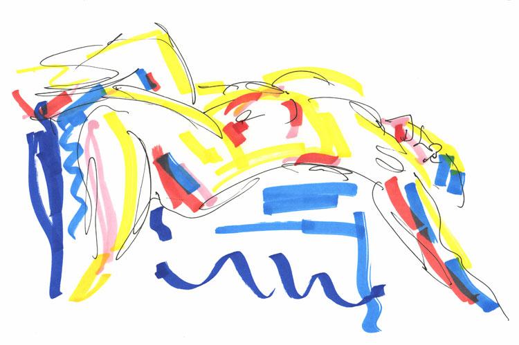 Life study - Daniela - Croydon Life Drawing Group - marker pen