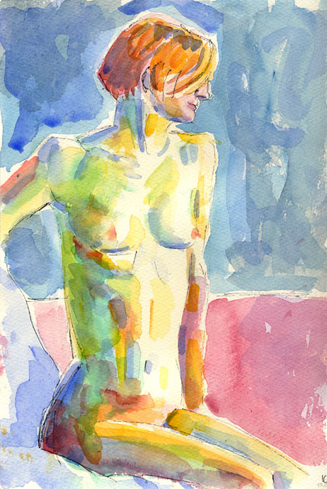 Life study - Esther - Croydon Life Drawing Group - watercolour