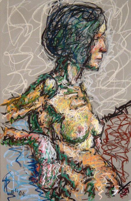 Life study - Jeanette - Croydon Life Drawing Group - pastel