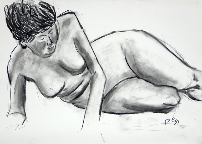 Life study - Pat - Croydon Life Drawing Group - charcoal