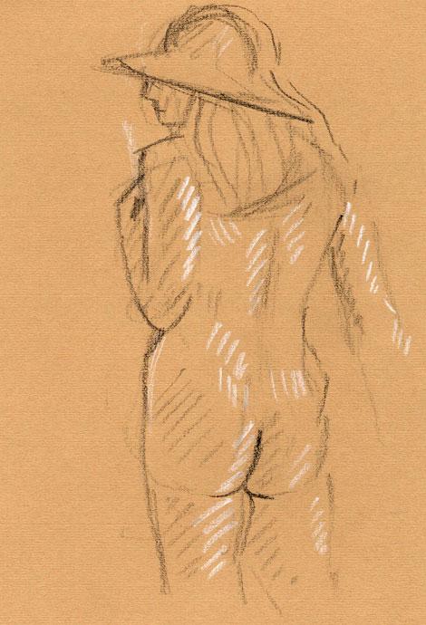 Life study - Penny - Croydon Life Drawing Group - carbon pencil and chalk