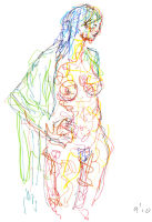 Life study - Sharon - Croydon Life Drawing Group - marker pen