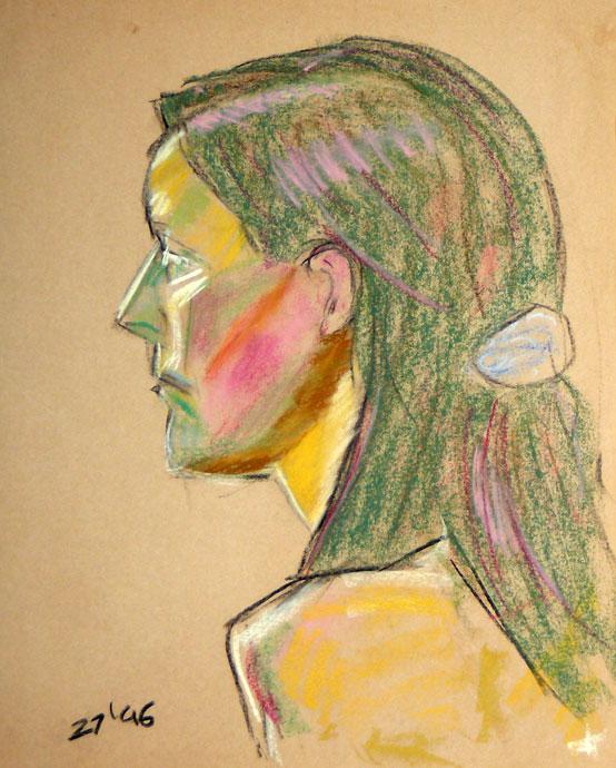 Portrait study - Tanya - Croydon Life Drawing Group - pastel