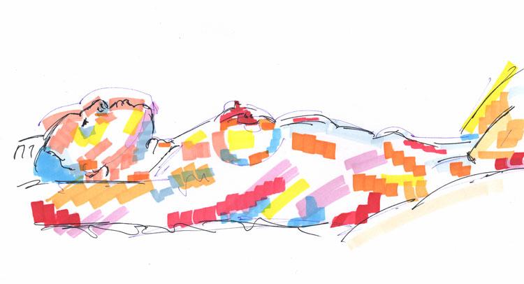 Life study - becky - marker pen - 30-03-13
