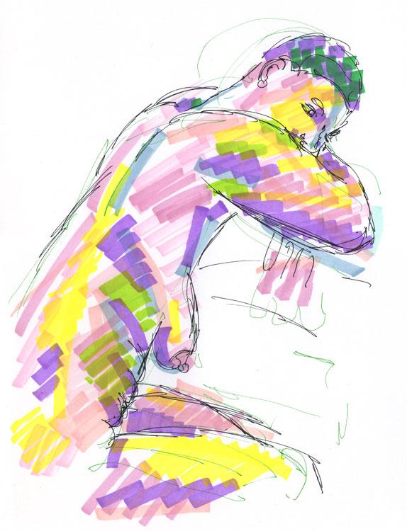 Life study - becky - marker pen - 30-03-17
