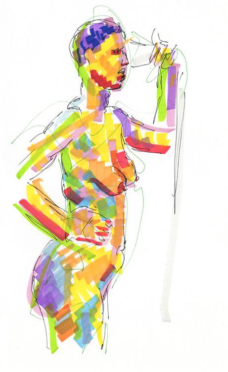 Life study - becky - marker pen - 30-03-18