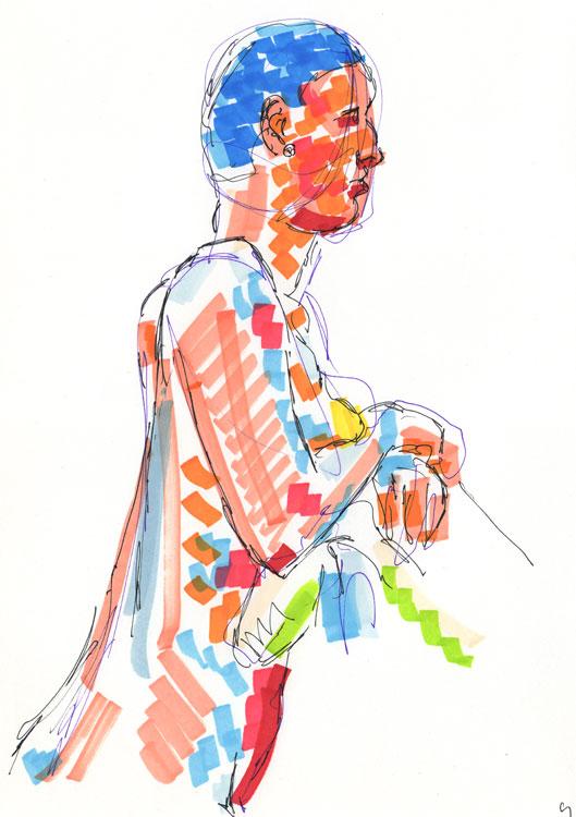 Life study - becky - marker pen - 30-03-9