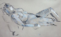 Life study - Roberta - Croydon Life Drawing Group - charcoal and chalk