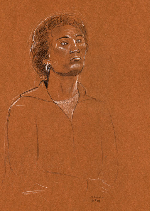 Portraint study - Croydon Life Drawing Group - carbon pencil and chalk