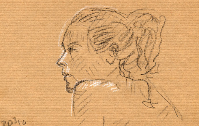 Portrait study - Rakel - Wapping Life Group - carbon pencil and chalk