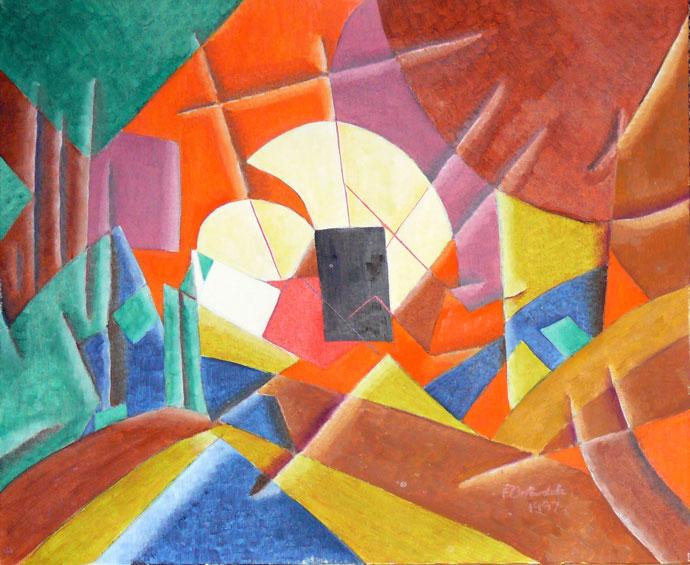 Sudden destruction - oil painting
