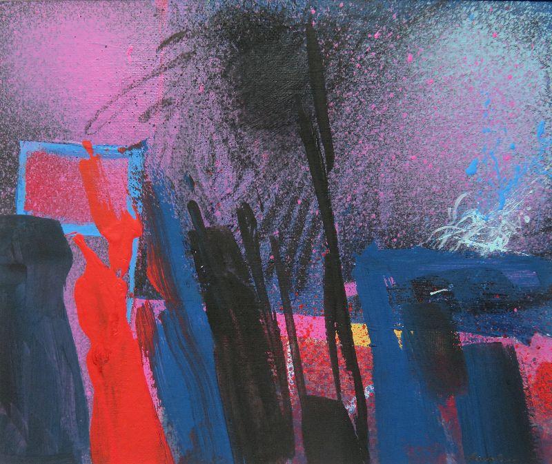 Night Walk. Acrylic on board 41 x 36cm