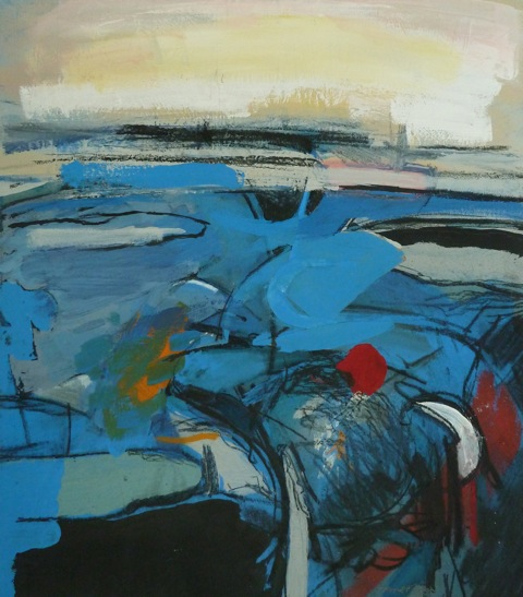 Off Shore Blue. Mixed media on canvas 70x77cm