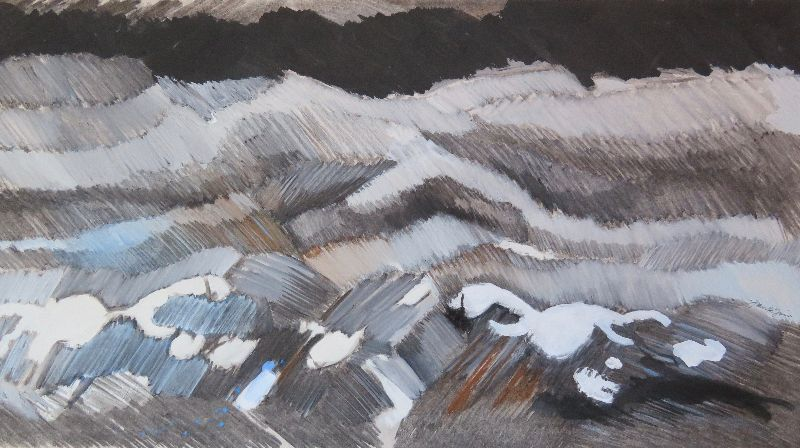 White Horses, Portland Race. Acrylic and charcoal on card 84 x 57cm