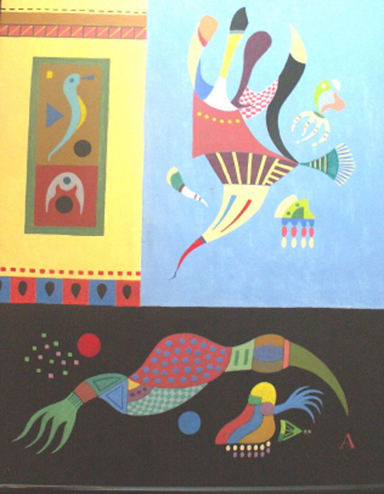 Biomorphic Forms.  Acrylic on Board 53x43cm
