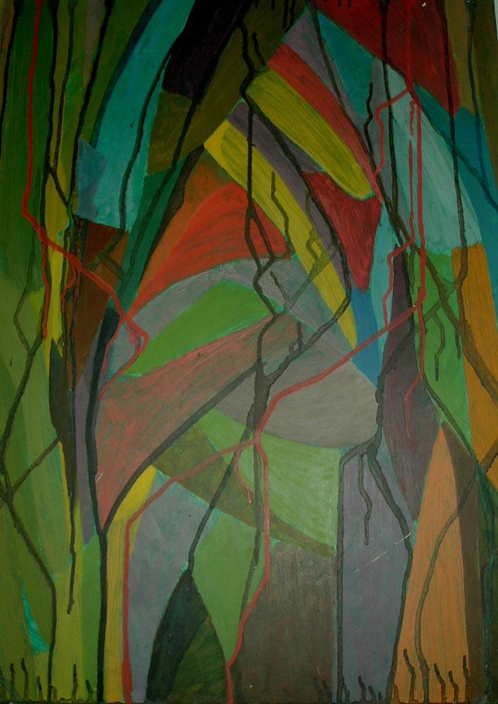 Colourama.  Tempera on Board 68.5x50.5cm