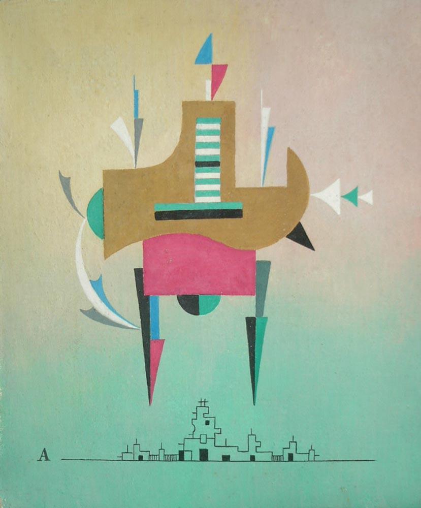 Rising Form.  Tempera on canvas 30x25cm