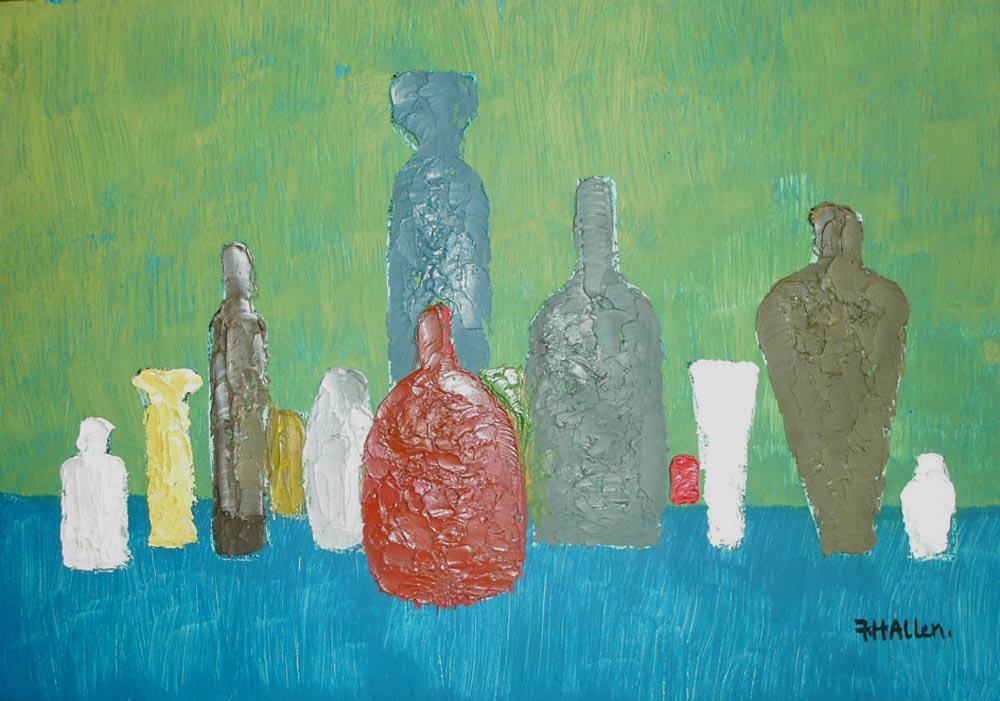 bottles.  Oil on board 58x48cm