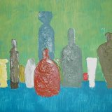 bottles.  Oil on board 58x48cm