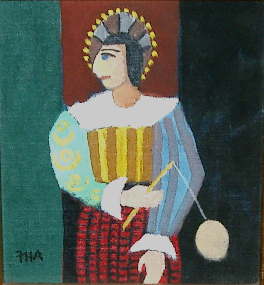 court jester.  acrylic on board 16.5x14.5cm