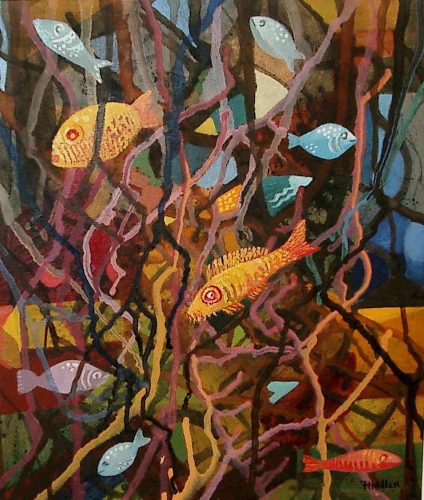 fish tank.  Acrylic on paper 8x10cm