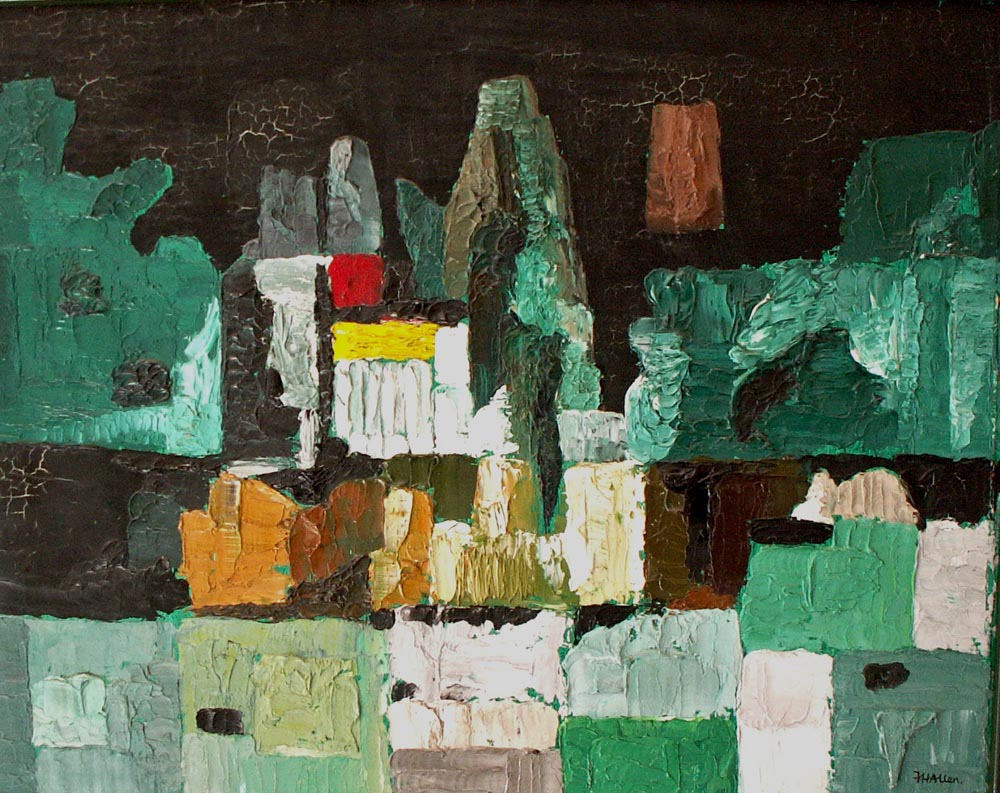 green mansions.  oil on board 44x54cm