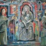 holy conversation.  acrylic on board 50x67cm